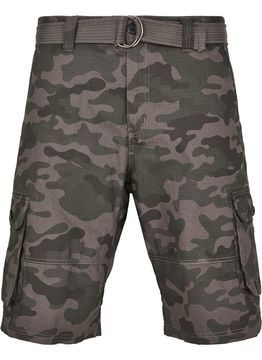 Belted Camo Cargo Shorts Ripstop