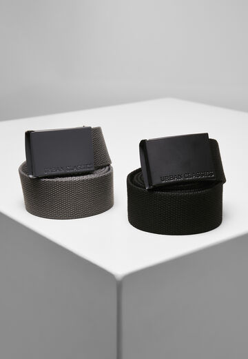 Urban Classics Colored Buckle Canvas Belt 2-Pack