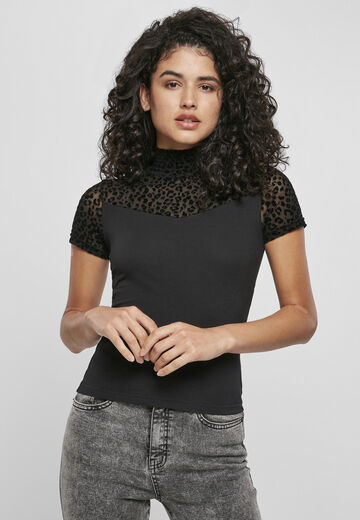 Urban Classics Ladies Ladies Flock Lace Turtleneck Tee
