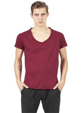 Urban Classics Fitted Peached Open Edge V-Neck Tee