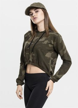 Ladies Camo Cropped Hoody