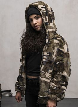 Urban Classics Ladies Ladies Camo Teddy Jacket