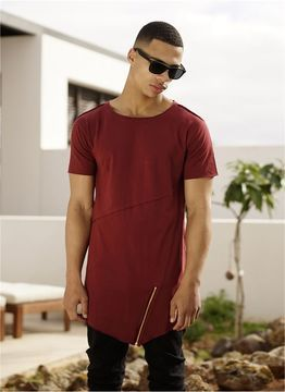 Long Open Edge Front Zip Tee