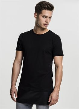 Long Zipped Leather Imitation Bottom Tee